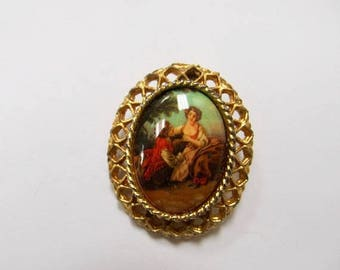 On Sale Vintage Colorful Portrait Pin Item K # 1045