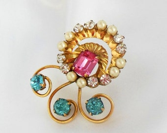 Holiday Sale AMCO Gold Brooch with Rhinestones in Pink and Blue Marked 1/20 12K GF