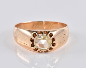 Victorian .95 Ct solitaire rose cut diamond gipsy ring