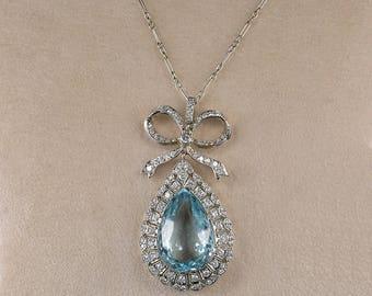 Authentic Edwardian 16.40 Ct aquamarine and diamond rare necklace