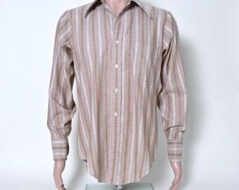 Vintage 1960s 60s Men's Shirt Tan Stripe Arrow Kent Size Medium