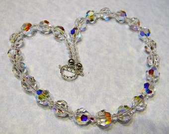Clear AB Crystal Necklace with Toggle