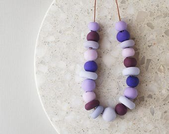 Beaded Necklace in Shades of Purple - Handmade Polymer Clay Beads - Limited Edition - Adjustable