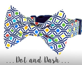 Blue, Green, Red Dog Collar and Bow Tie; Colorful Bow Tie Dog Collar: Dot and Dash