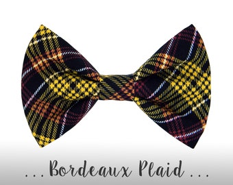 Black and Burgundy Plaid Dog Bow Tie; Dog Collar BowTie Attachment: Bordeaux Plaid