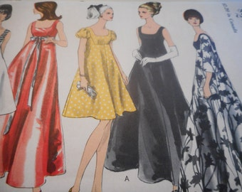 Vintage 1960's Vogue 6924 Dress Sewing Pattern, Size 14 Bust 34