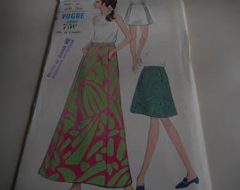Vintage 1960's Vogue 7217 Skirt Sewing Pattern, Waist 25
