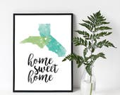 Custom Home Sweet Home One OR Two States in Love Watercolor Art Print