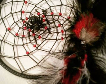 Black and Red Spider Dreamcatcher with Beaded Webbing and Feathers