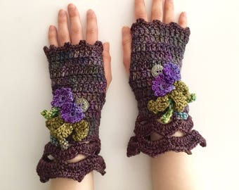Floral Touch Arm Warmers, Mother's Day Gift, hand warmers, Purple, Green arm warmers, hand painted merino wool, hand warmers