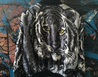 20 Vintage METRO Royalty Swag Baroque Animal Lion Tiger Leopard Print Nylon Silk style Hip hop Bomber Jacket