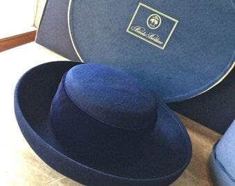 Vintage Brooks Brothers Hat, Vintage Ladie's Hat, Navy Wool Hat, Wool and Velvet Hat, Bowlers Hat, Woman's Wool Hat, Navy Blue Ladie's Hat