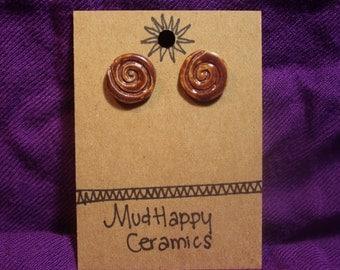 Spiral studs, ceramic earrings, glazed earrings, deep firebrick red spirals