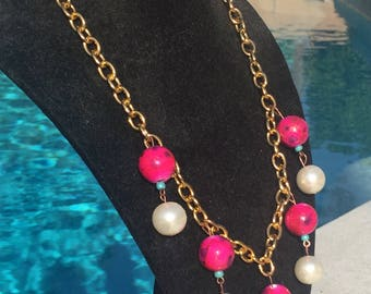 Pink beads and pearl necklace w/ turquoise