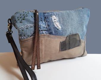 Denim bag, Wristlet, Wristlet wallet, DENIM Wristlet, Wristlet Purse, Leather Denim Clutch, Denim Wristlet ,Leather Wristlet, Denim purse