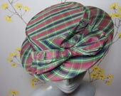Vintage 1940s Plaid Check Hat Ladies Hat With Bow Formed Hat Small Brim Hat A Marten Model