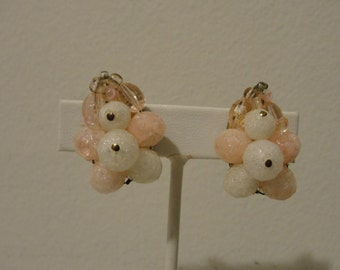 "Pink and white bead clip earrings West Germany 1 1/8"" x 7/8"""
