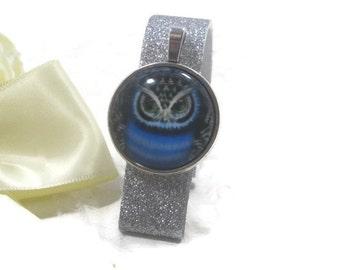 Blue Owl Car Clip  - Altered Sun Visor Clip - Upcycled Car Visor Clip - Repurposed Car Visor Clip - Blue Car Accessory