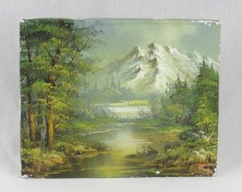 Original Mountain Scene Painting - Artist Signed - Rugged Landscape - Peaceful - Primitive - Serene - Zen - Shabby Chic Framed Art Decor