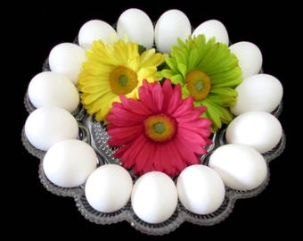 Vintage Glass Egg Platter - Deviled Eggs Plate - Boiled Eggs Serving Dish - Mid Century Kitchen Cooking