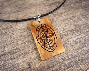 Mens Compass Necklace, Leather Necklace With Wood Compass Pendant, Compass Jewelry