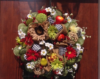 Fruits and Flowers Wreath or Centerpiece