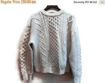 SALE Cream Cable knit Sweater Fisherman Cowichan Vintage M L Moonraker