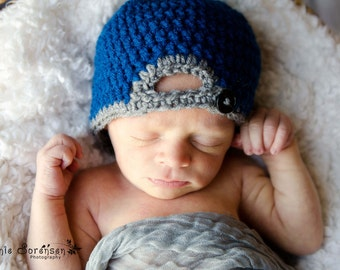 READY TO SHIP! Newborn Baseball Crochet Hat, Newborn Crochet Hat, Baseball Hat, Baby Boy Crochet Hat, Blue Baseball Cap