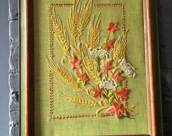 Vintage Framed Floral Embroidery