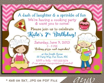 baking birthday invitation girl birthday baking party invitation pizza party invites cupcakes baking printable owl polka - Pizza Party Invitation