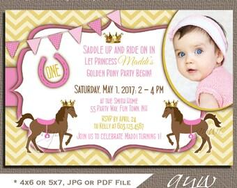 First Birthday Invitation Pony Princess Horse Party Invitation 1st Birthday Horse Invitations Printable Invites Pony Photo Chevron ANY AGE