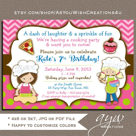 baking birthday invitation girl birthday baking party invitation