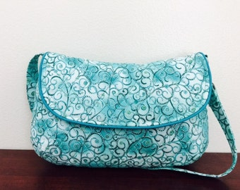 CLEARANCE Aqua and White Paisley Quilted Curvy Clutch Shoulder Bag Detachable strap