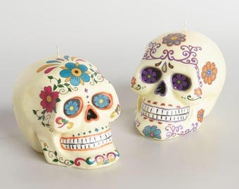 Day of the Dead Sugar Skull candles set of 2