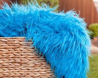Mongolian Faux Fur Turquoise - Photography Prop - Newborn/baby Photography Prop - Longer length - Ready to ship - Turqoise Fur - prop fur