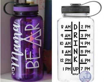 Motivational water bottle  - mama bear water bottle - gift under 20 - mom gift - timeline tracker - inspirational - water bottles