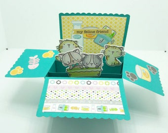 Cat themed pop up card, Cat lover card, box pop up, fun pop up greeting card, MFT stamps, friendship card
