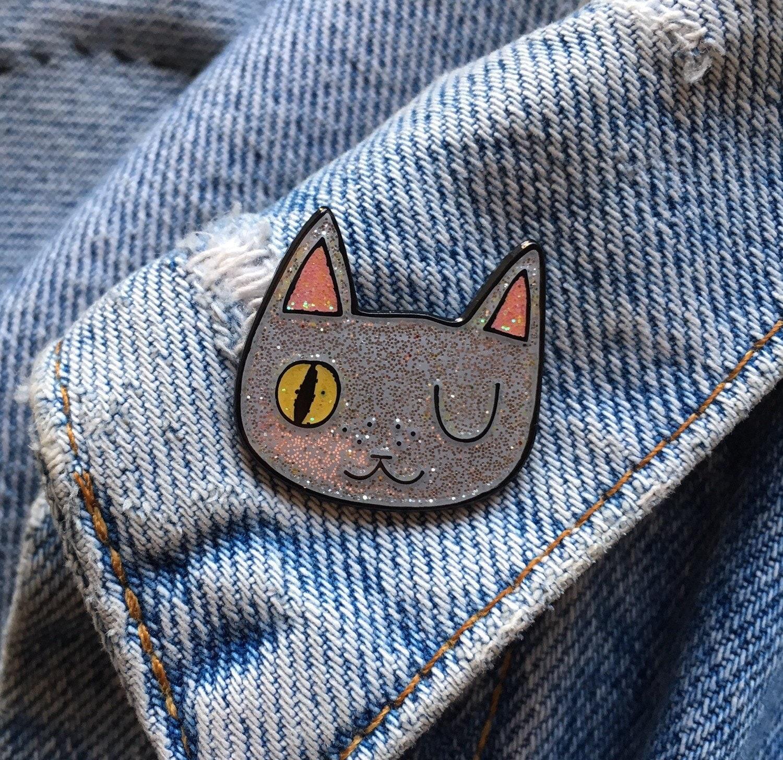 Enamel cat lapel pin Cat pin Enamel pin Enamel cat pin