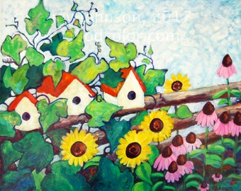 Birdhouses Sunflowers Vibrant Colors Whimsical Garden Giclee Print  Impressionistic Choose Your Size Peggy Johnson Every Good