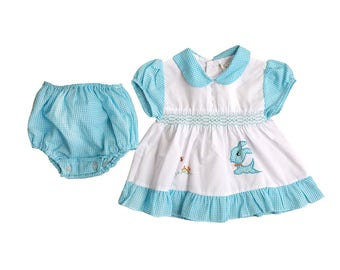 Vintage 50s Blue Bunny Dress with Bloomers | 0-6 Months