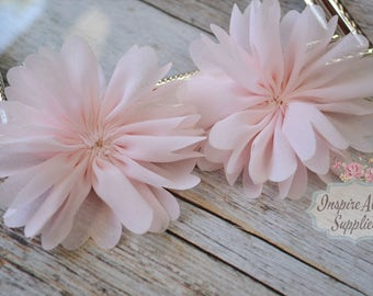 Baby Pink Ballerina chiffon Flowers- Set of 2 DIY fabric flowers, wholesale flowers, chiffon flowers, supply flowers,headband supply