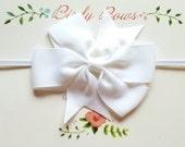 White Baby Bow Headband, Baby Headbands, Infant Headbands, Baby Girl Headbands, Infant Bow, Baby Bow, Girl Bow,Girl Headbands