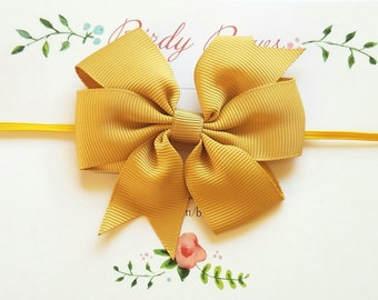 Mustard Baby Bow, Baby Headband, Infant Headbands, Baby Girl Headbands, Infant Bow, Baby Bow, Girl Bow, Girl Headbands