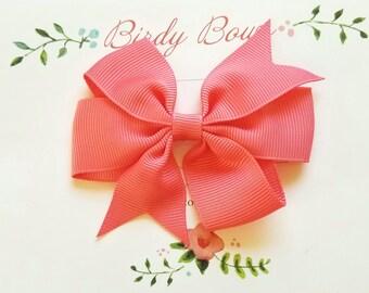 Coral Bow Clip, Baby Headbands, Infant Headbands, Baby Girl Headbands, Infant Bow, Baby Bow, Girl Bow,Girl Headbands