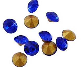 Wholesale 1440pc Machine Cut Pointed back Foil Rhinestone 3.4mm blue-BB4