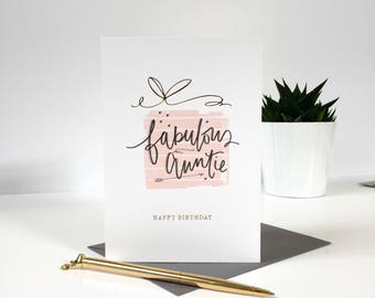 Fabulous Auntie - Happy Birthday - Greeting Card