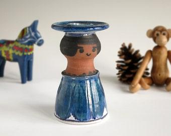 Jette Helleroe Candleholder - Jette Helleröe Denmark Pottery - Figural Woman Candlestick - Blue Green Ceramic Candle Holder - Danish Pottery