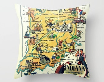 Indiana Map Pillow Cover, Indiana Gift IN State Map Pillow Indiana Pillow Decorative Throw Pillow Indiana State Camper Decor, Camper Pillow