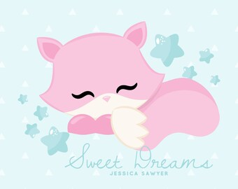INSTANT DOWNLOAD, Pink Fox Clipart for personal and commercial use