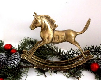 Rocking Horse Figurine - Vintage Brass Horse Figurine - Brass Rocking Horse - Vintage Brass Figurine - Antique Rocking Horse Figurine